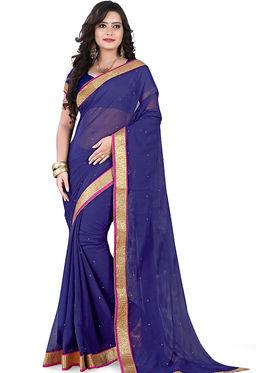 Viva N Diva Chiffon Lace Border Saree 10069-Peacock-Vol-02