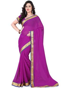 Viva N Diva Chiffon Lace Border Saree 10083-Peacock-Vol-02