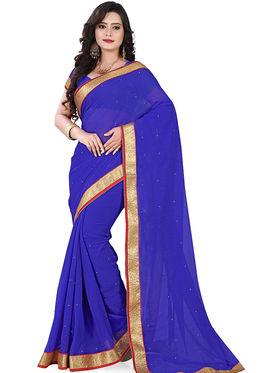 Viva N Diva Chiffon Lace Border Saree 10089-Peacock-Vol-02
