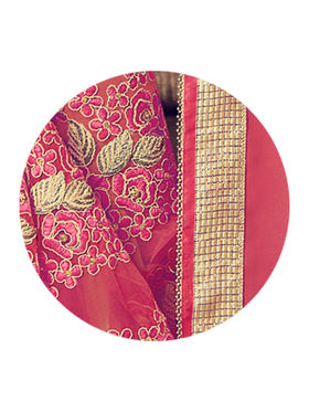 Indian Women Embroidered Georgette & Lycra Pink & Beige Designer Saree -MG12318
