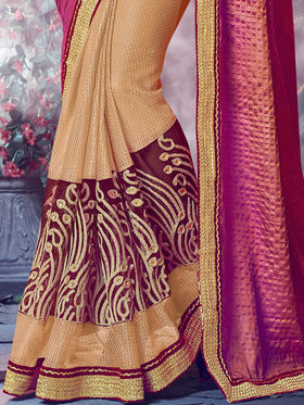 Indian Women Embroidered Paper Silk Multicolor Designer Saree -MG12322