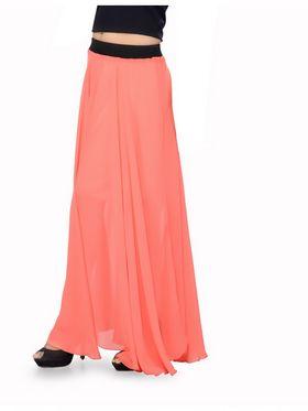 Ishin Georgette Solid Skirt - Peach_INDWT-122