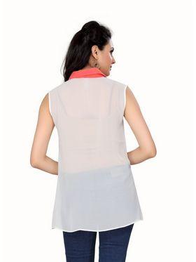 Ishin Georgette Solid Ladies Top - White_INDWT-134