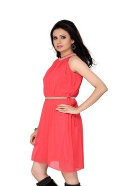 Ishin Georgette Solid Ladies Dresses - Orange_INDWT-137