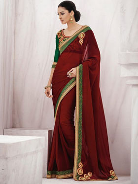 Bahubali Georgette Embroidered Saree - Wine_GA.50107