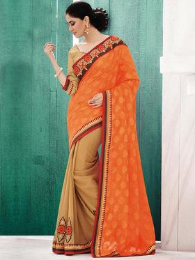 Bahubali Jacquard Embroidered Saree - Orange_GA.50109