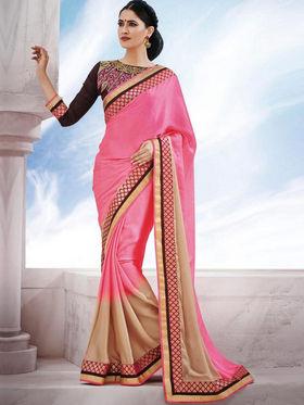 Bahubali Satin Chiffon Embroidered Saree - Pink_GA.50125