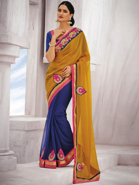 Bahubali Georgette Embroidered Saree - Yellow_GA.50130