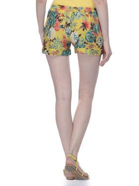 Lavennder Ladies Rayon Printed Short - Yellow_LW-5147