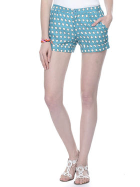 Lavennder Cotton Marco Printed Short For Ladies - Turquoise_LW-5148