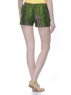 Lavennder Cotton Printed Ladies Short - Green_LW-5149