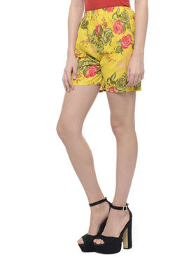 Lavennder Cotton Printed Ladies Short - Yellow_LW-5158