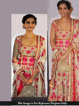 Shop Rajasthan Faux Georgette Embroidered Semi-Stitched Anarkali Suit - Beige_SRQ2471