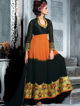 Viva N Diva Semi Georgette Embroidered Salwar Suit - Orange & Black_Cosmos-13005