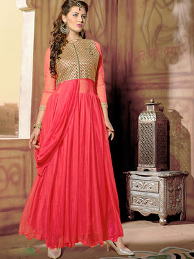 Viva N Diva Net  Embroidered Salwar Suit - Peach_Vedant-1001