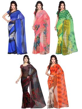 Combo of 5 Adah Fashions Georgette Printed Saree -ad06