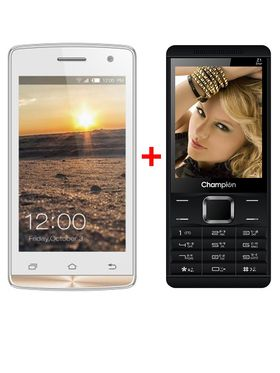 Combo of Champion KitKat 3G Smartphone(White) + Champion Dual Sim Phone(Black)