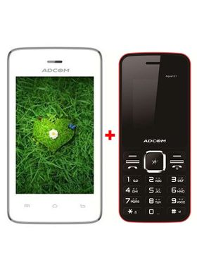 Combo of Adcom T 35 Smartphone (White) + Adcom 121 Feature Phone (Black & Red)