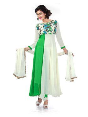 Fabfiza Printed Georgette Semi-Stitched Anarkali Suit - FB-6301