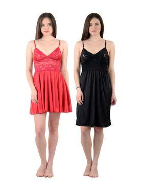 Pack of 2 American-Elm Women Satin Nighty - AENTY-0529