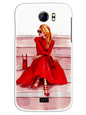 Snooky Designer Print Hard Back Case Cover For Micromax Canvas 2 A110 - Red