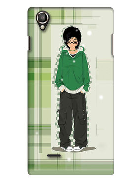 Snooky Digital Print Hard Back Case Cover For Lava Iris 800 - Green