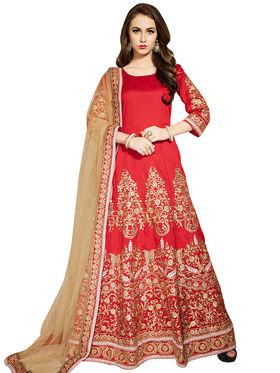Viva N Diva Embroidered Banglori Silk Semi Stitched Anarkali  Suit -vnd04