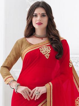 Indian Women Embroidered Georgette Red Designer Saree -GA20305