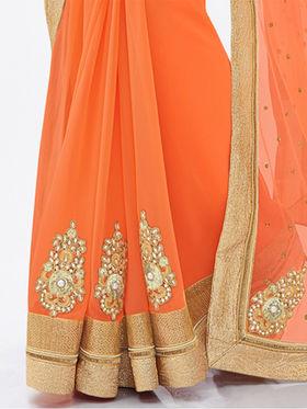 Indian Women Embroidered Net Orange Designer Saree -GA20312