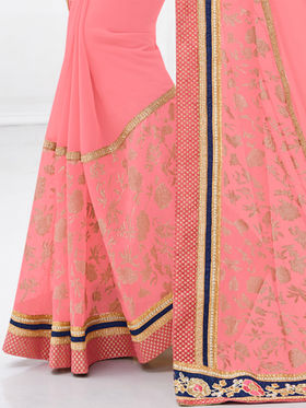 Indian Women Embroidered Georgette Pink Designer Saree -GA20320