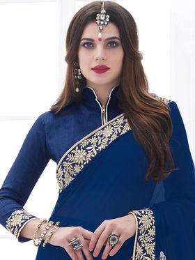 Indian Women Embroidered Twill Chiffon Blue Designer Saree -GA20321