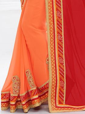 Indian Women Embroidered Moss Chiffon Red & Orange Designer Saree -GA20333