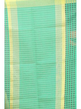 Zoom Fabrics Plain Cotton Silk Green Saree -4052A