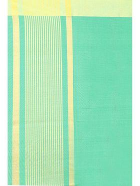 Zoom Fabrics Plain Cotton Silk Green Saree -4053C
