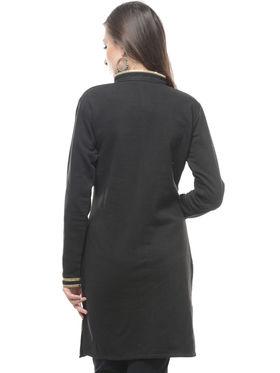 Lavennder Designer Black Solid Woolen Kurti -4318