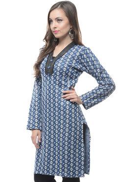 Lavennder Designer Blue Printed Woolen Kurti -6094