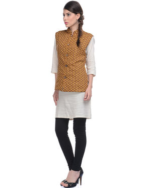 Lavennder Yellow Khadi Sleeveless Women Nehru Jacket - 623414