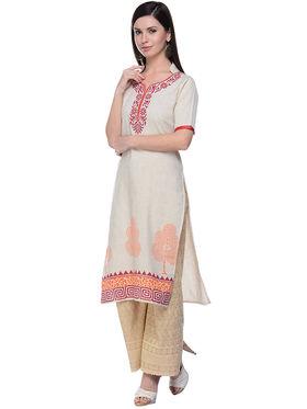 Lavennder Khaadi Printed Off White Long Straight Kurta - 623561