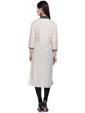 Lavennder Khaadi Plain Off White Long Straight Kurta - 623567