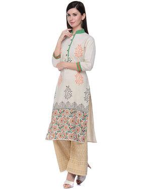 Lavennder Khaadi Printed Off White Long Straight Kurta - 623569