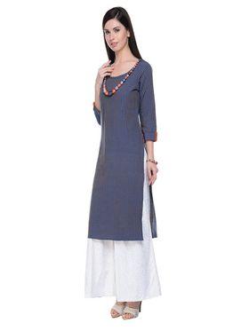 Lavennder Khadi Striped Kurti -623572