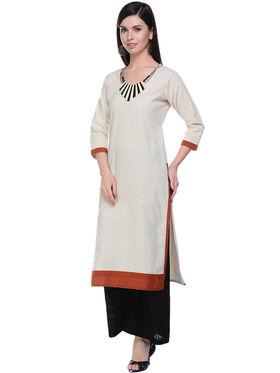 Lavennder Khaadi Plain Off White Long Straight Kurta - 623573
