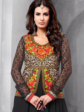 Adah Fashions Embroidered  Faux Georgette Semi-Stitched Suit 734-1002