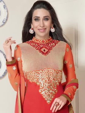 Adah Fashions Embroidered Georgette Semi-Stitched Suit 757-5164