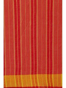 Red Chanderi Zari Border Saree with Blouse Piece_ADM-SR-SNH3-10064