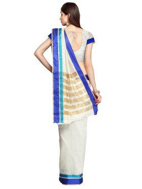 Cream Tussar Silk Blue Zari Border Saree with Blouse Piece_ADM-SR-SNH3-10065