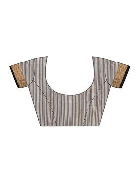 Beige and Black Cotton Linen Saree with Blouse Piece_ADM-SR-SNH3-10074