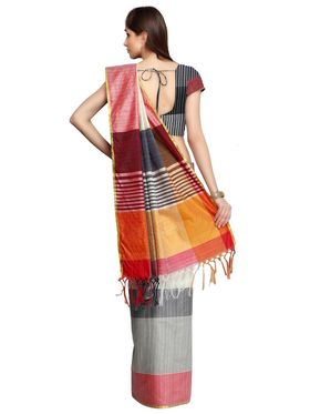Multicolour Bhagalpuri Silk Saree with Blouse Piece_ADM-SR-SNH3-10078