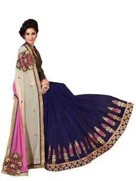 Khushali Fashion Embroidered Georgette Half & Half Saree(Dark Purple,Pink,Cream)_ASFPVA345