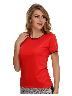 Clovia Polyester Blended Solid Sports T-Shirt -AT0012P04